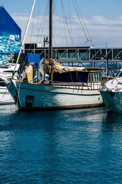 Limassol Cyprus March 17, 2020 Closeup of boats moored in the marina of Limassol in the afternoon