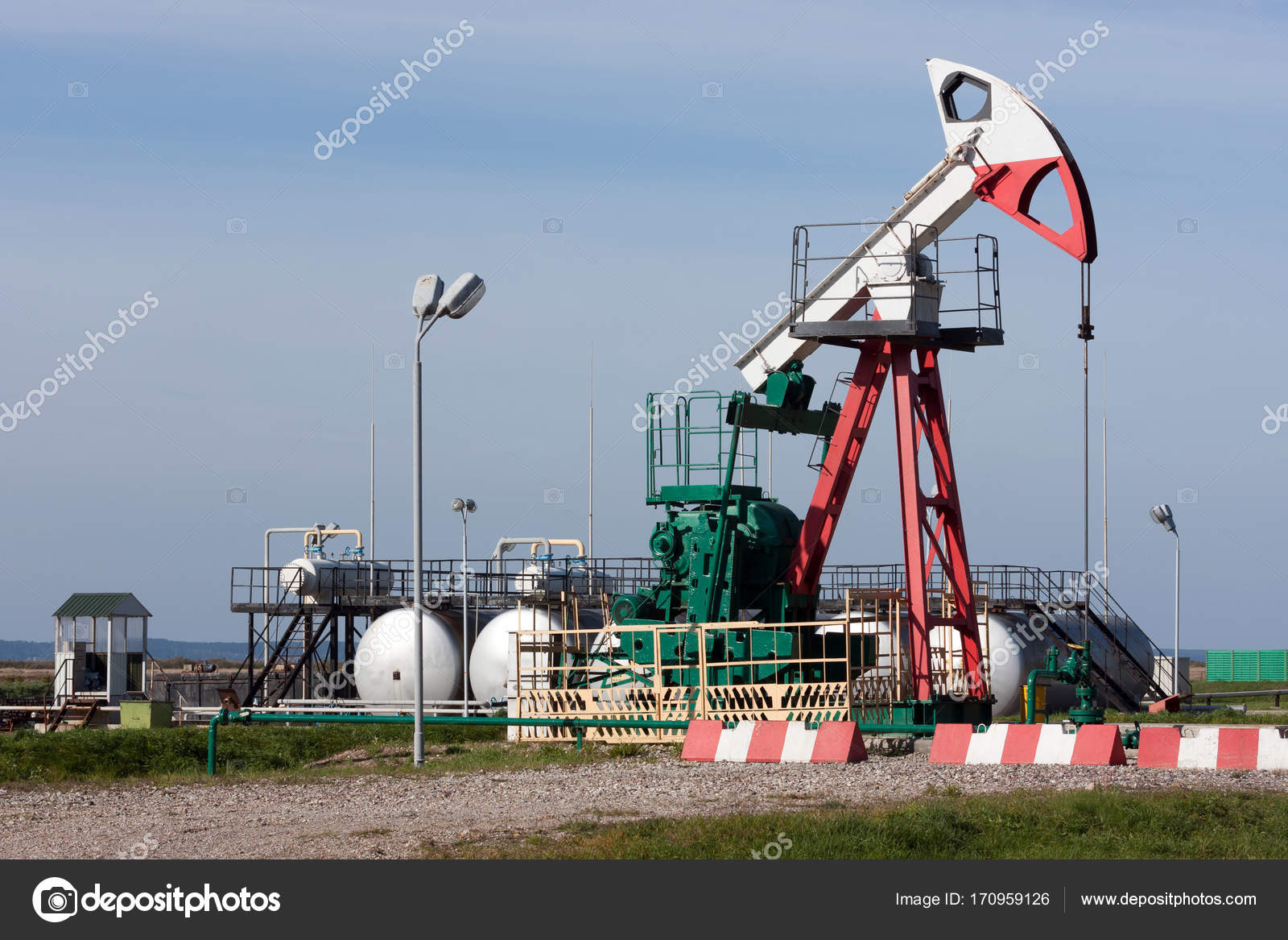 Oil pump, tanks and other oil extraction equipment on the