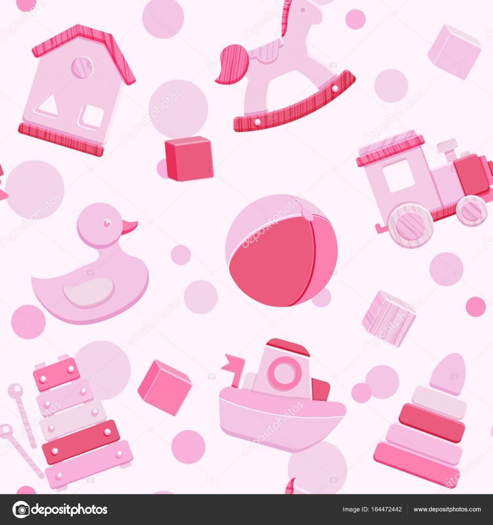 Patrón transparente rosa vector con los juguetes del bebé — Vector ...