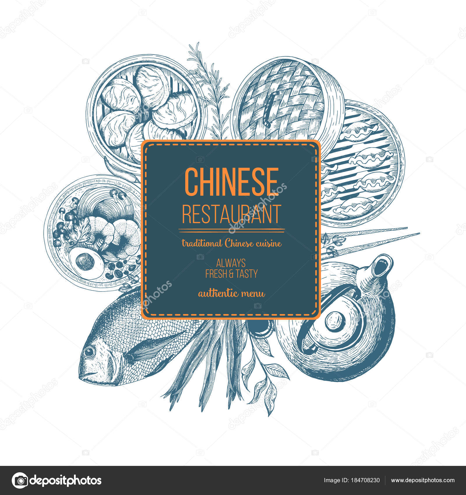 Vector Illustration Design Asian Food Chinese Food Frame Menu Label Stock Vector C Diviarts 184708230