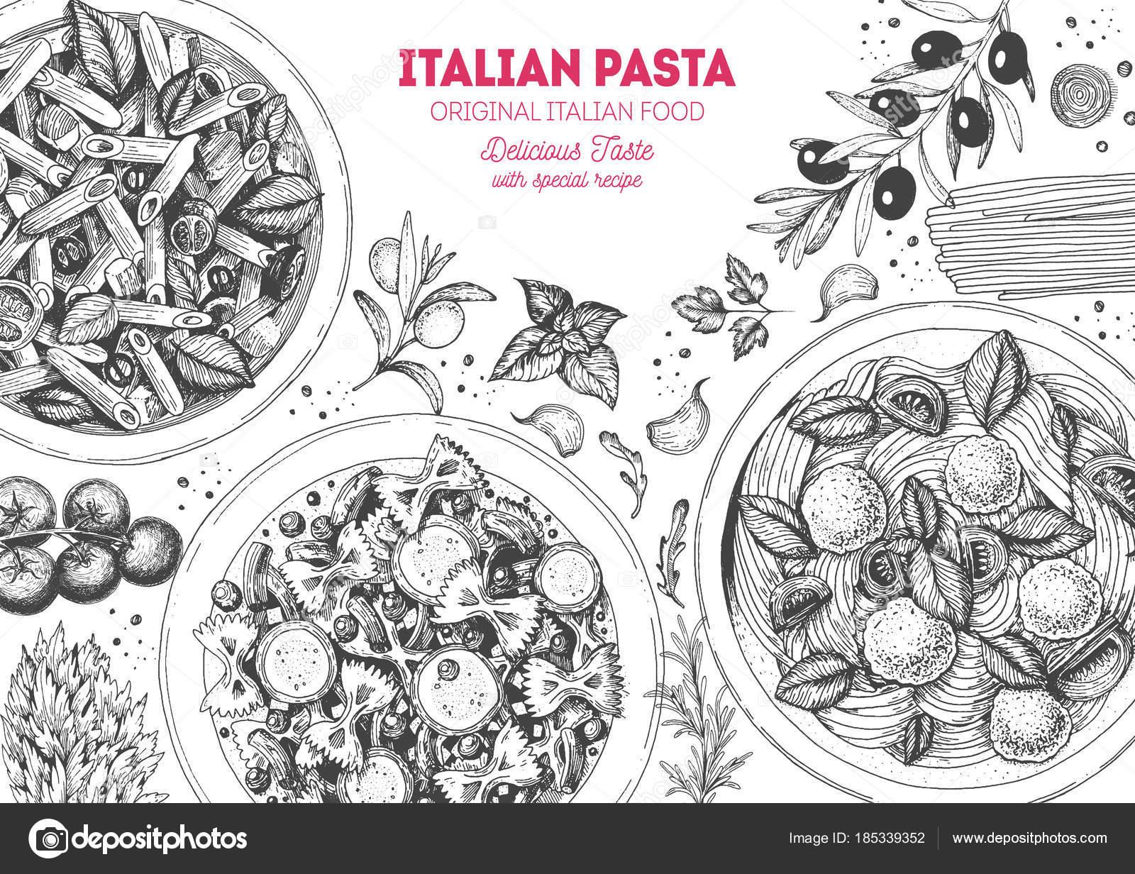 Italienische Küche Frame Satz Von Italienischen Gerichten Essen Menü ...