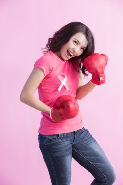 Happy woman hold boxing