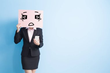 business woman with  crying  billboard