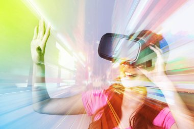woman using VR headset glasses