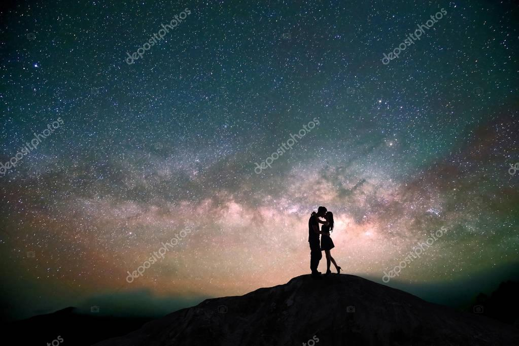 silhouette of couple  standing