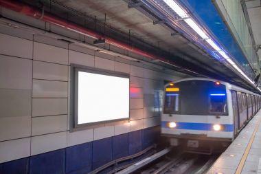 blank billboard in MRT