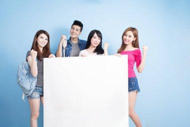 happy  students holding  billboard