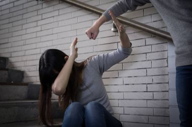 Depressed woman feeling  upset.  bullying concept stock vector