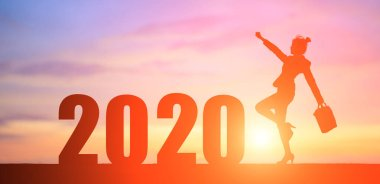 silhouette of businesswoman in 2020