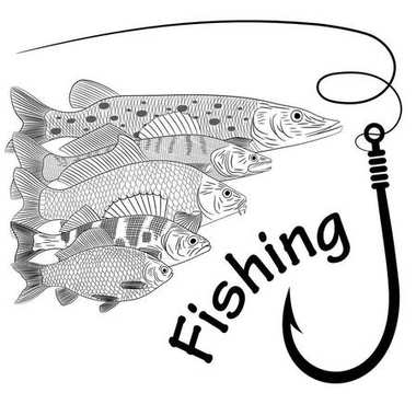 Drawing on the theme of river fish. Pike, pikeperch, carp, crucian carp, perch, fishing line and fish hook. Sketch, vector illustration.