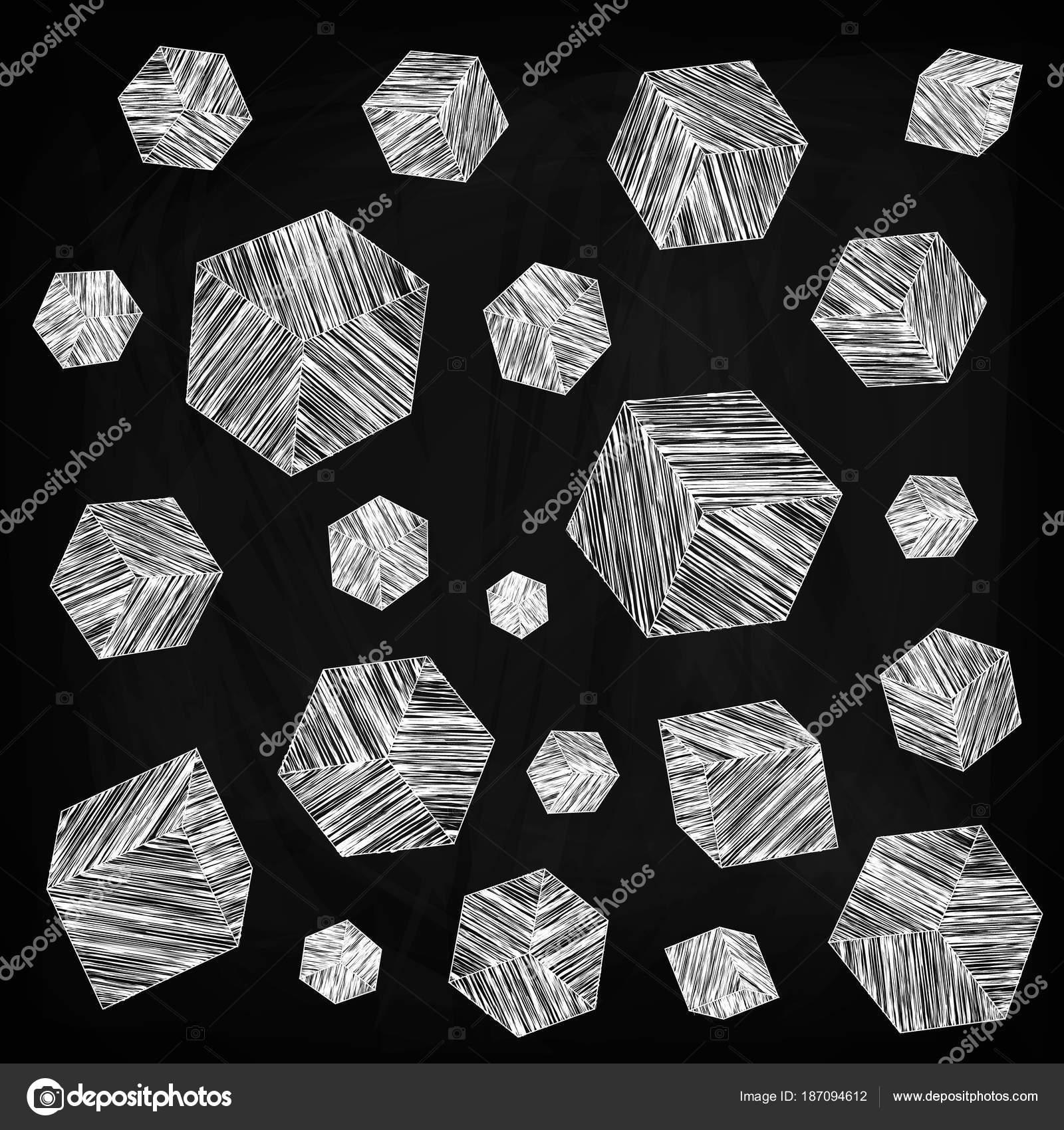 Mnoziny Malovanych Kostek Ruznych Velikosti Kresleni Kridou Tabuli
