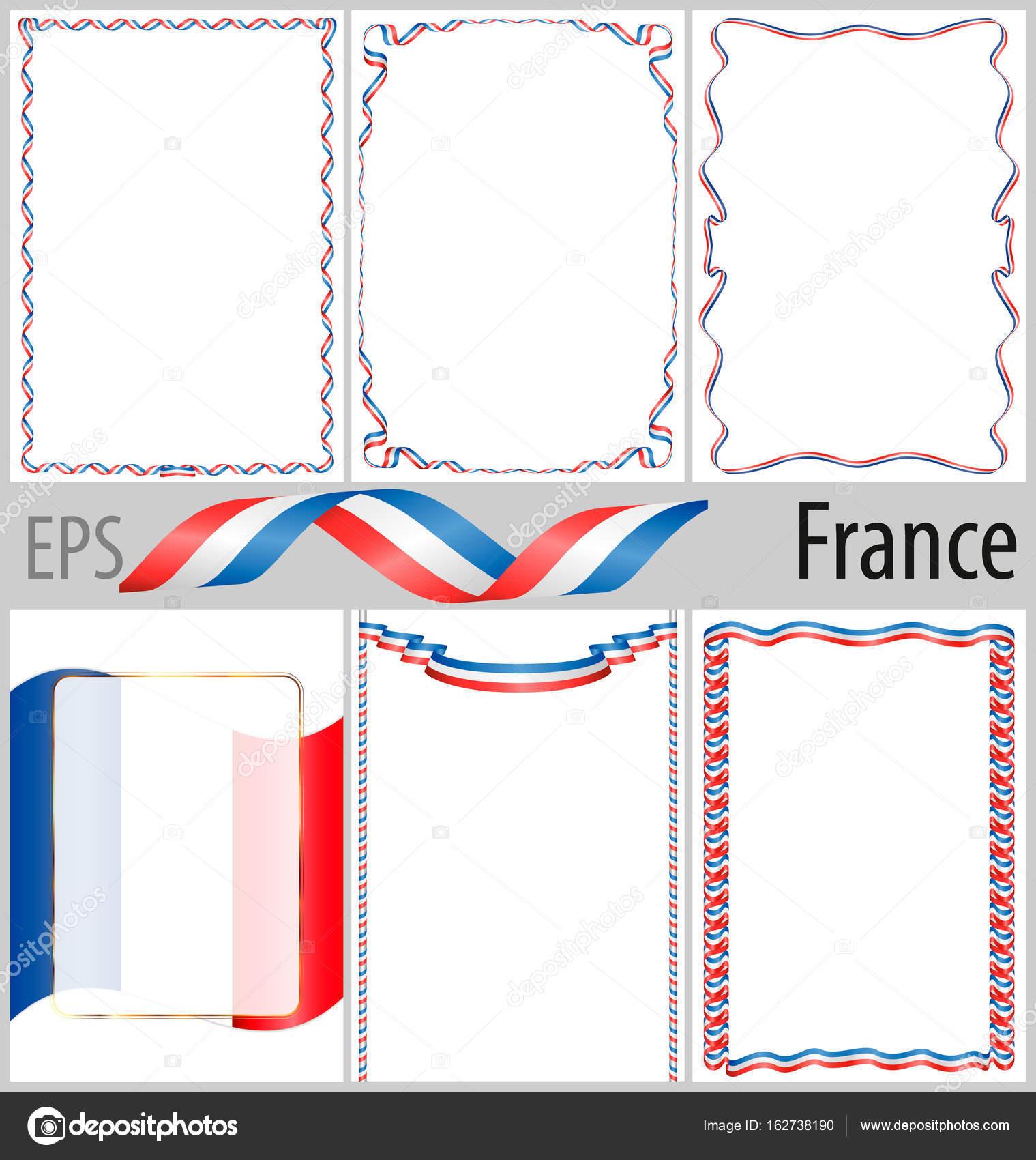 Satz von 6 Frames und grenzt an Frankreich Flagge Färbung ...