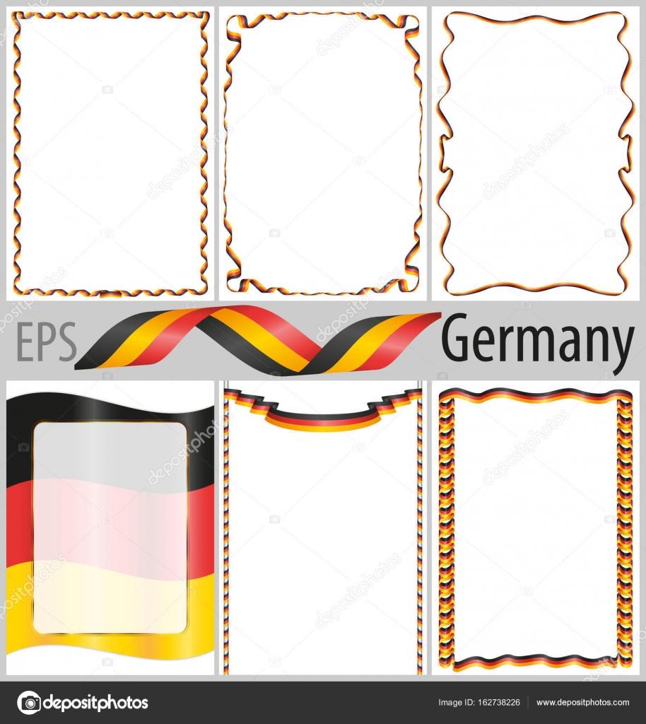 6 çerçeveleri Ve Borders Ile Almanya Bayrağı Boyama Seti Stok