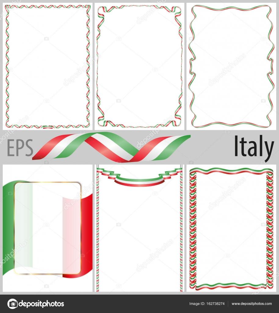 6 çerçeveleri Ve Borders Ile Italya Bayrağı Boyama Seti Stok