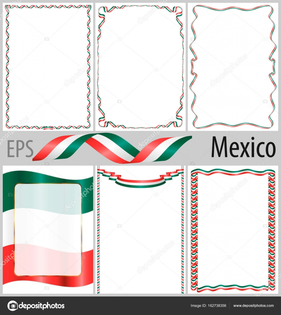Satz von 6 Frames und grenzt an Mexiko Flagge Färbung — Stockvektor ...