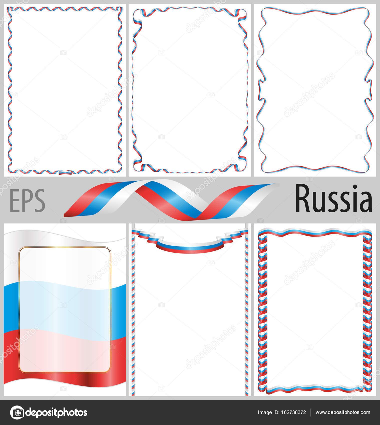 Satz von 6 Frames und grenzt an die russische Flagge Färbung ...