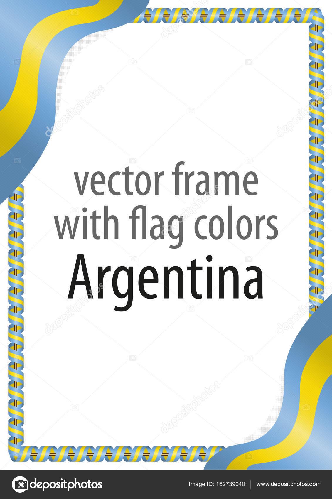 Marco y borde de cinta con los colores de la bandera Argentina ...
