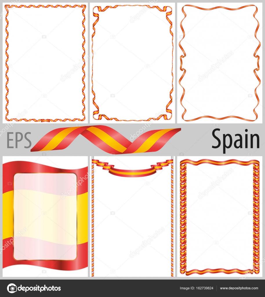 Conjunto de 6 marcos y fronteras con colorear bandera de España ...