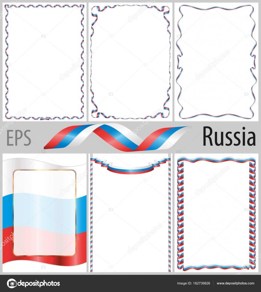 6 çerçeveleri Ve Borders Ile Rus Bayrağı Boyama Seti Stok Vektör
