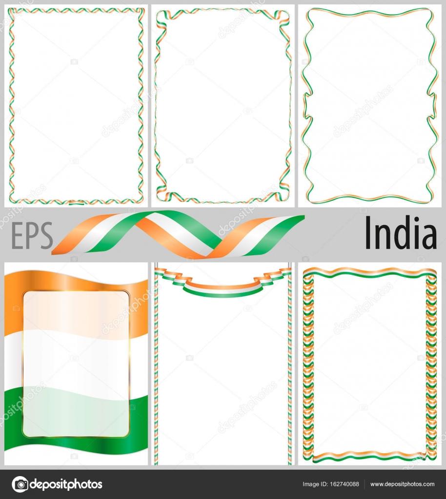 Conjunto de 6 marcos y fronteras con colorear bandera de India ...