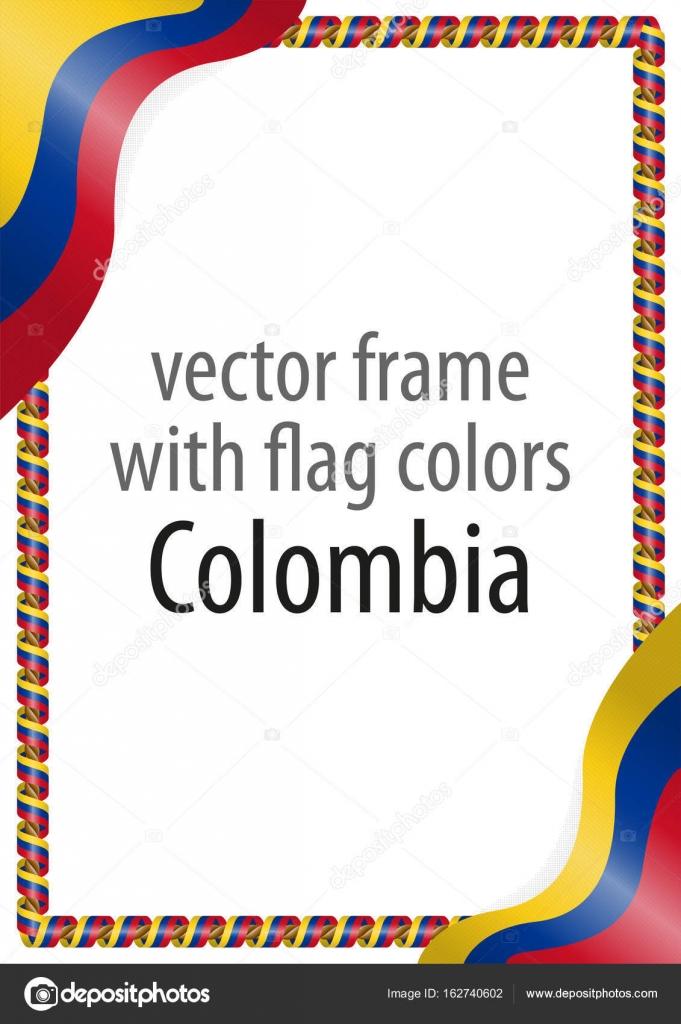 Marco y límite de la cinta con los colores de la bandera de Colombia ...