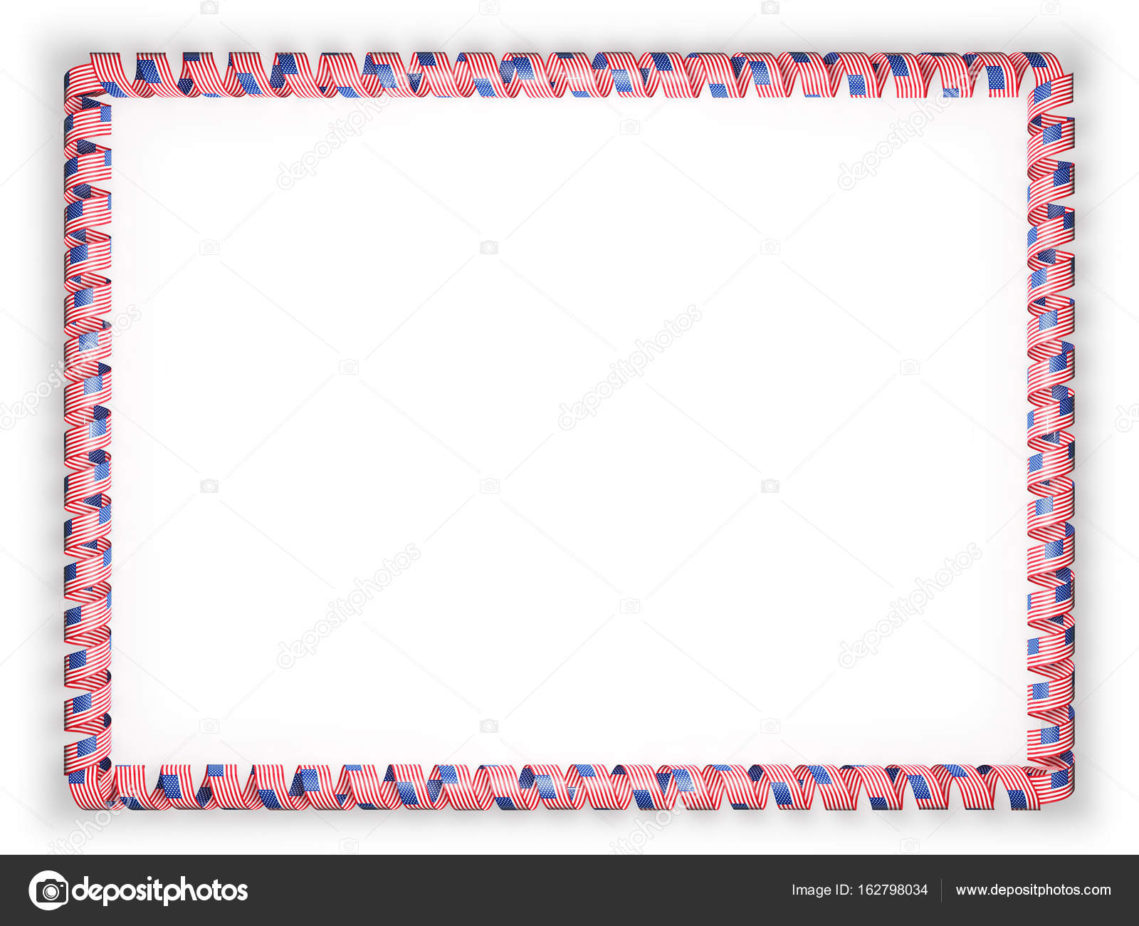 frame and border of ribbon with the usa flag 3d illustration