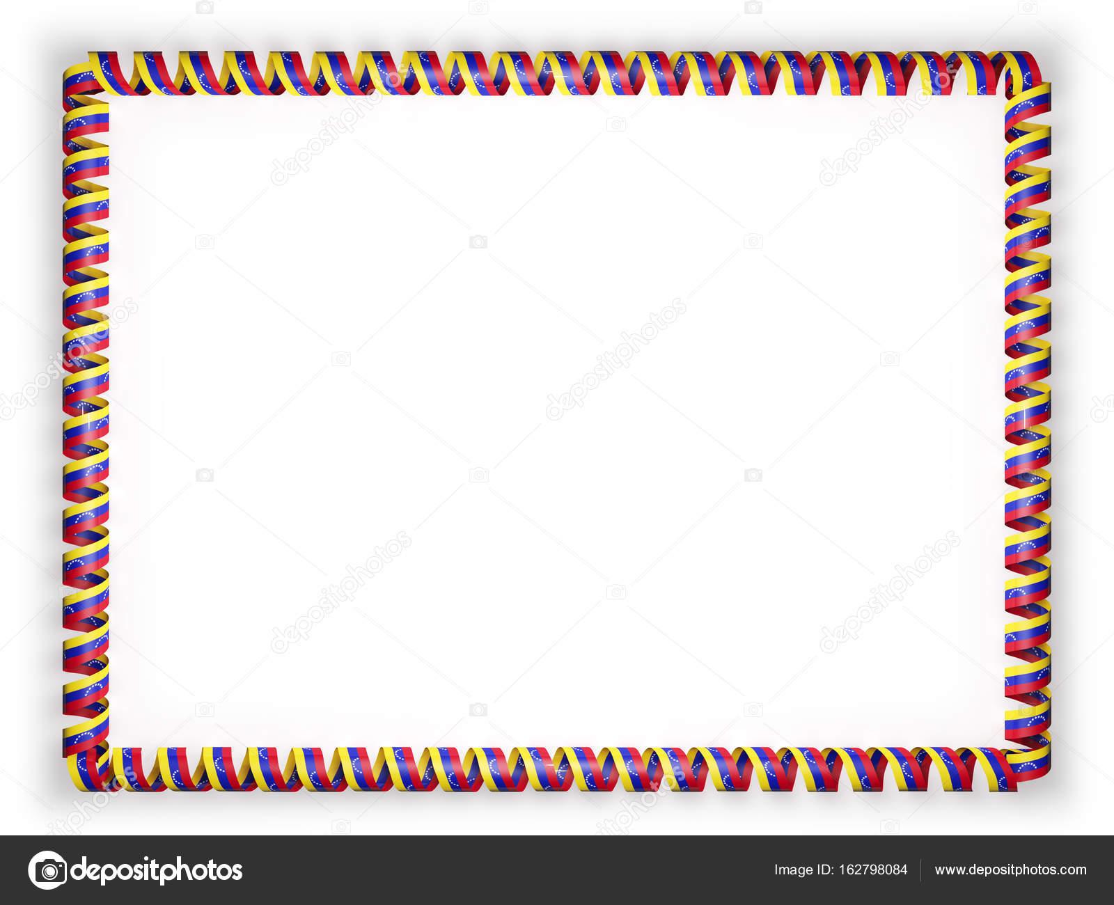 Rahmen und Rand des Bandes mit der Flagge von Venezuela. 3D ...