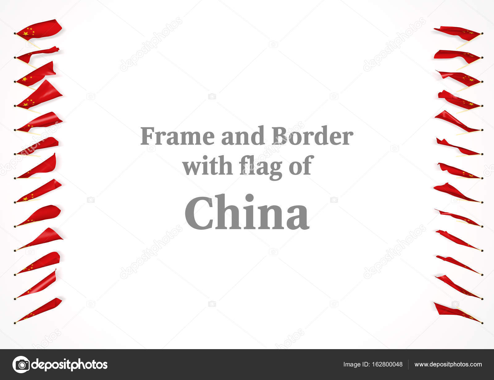 Frame en de grens met de vlag van China. 3D illustratie — Stockfoto ...