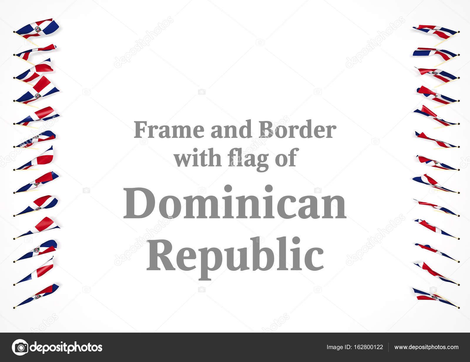 Marco y frontera con la bandera de República Dominicana. Ilustración ...