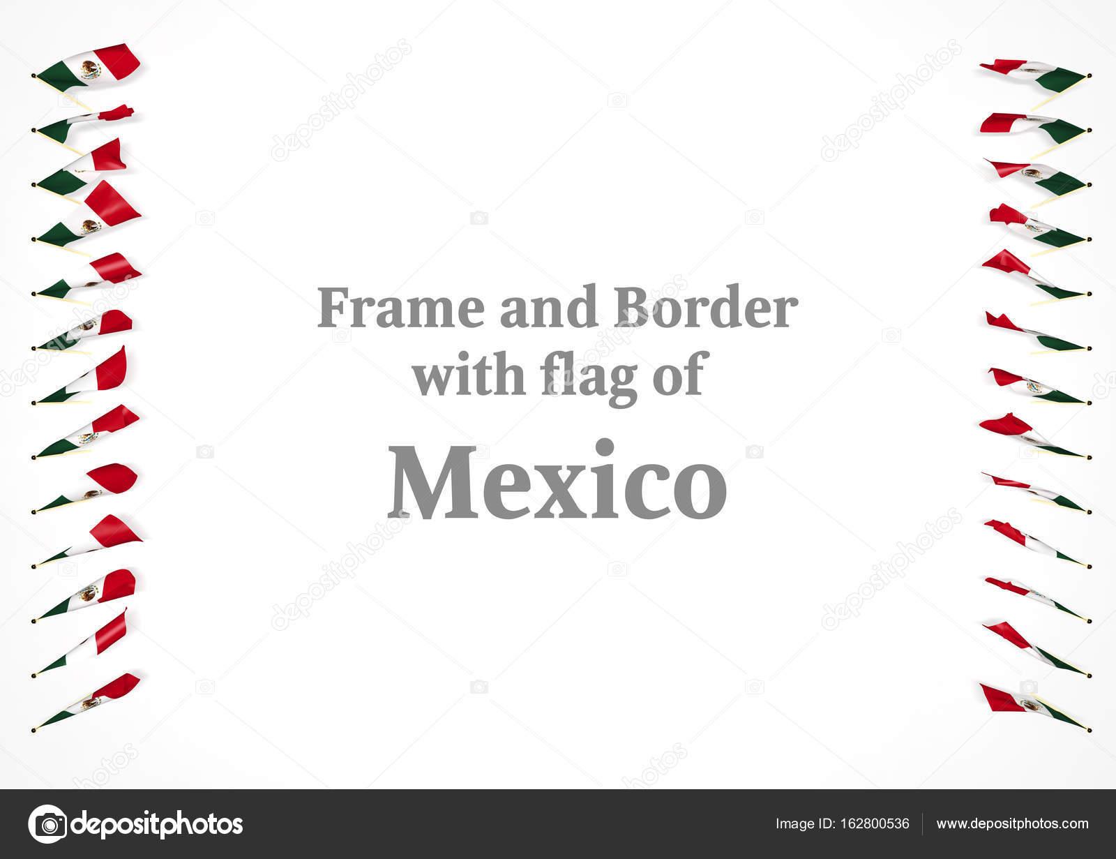 Marco y frontera con la bandera de México. Ilustración 3D — Fotos de ...