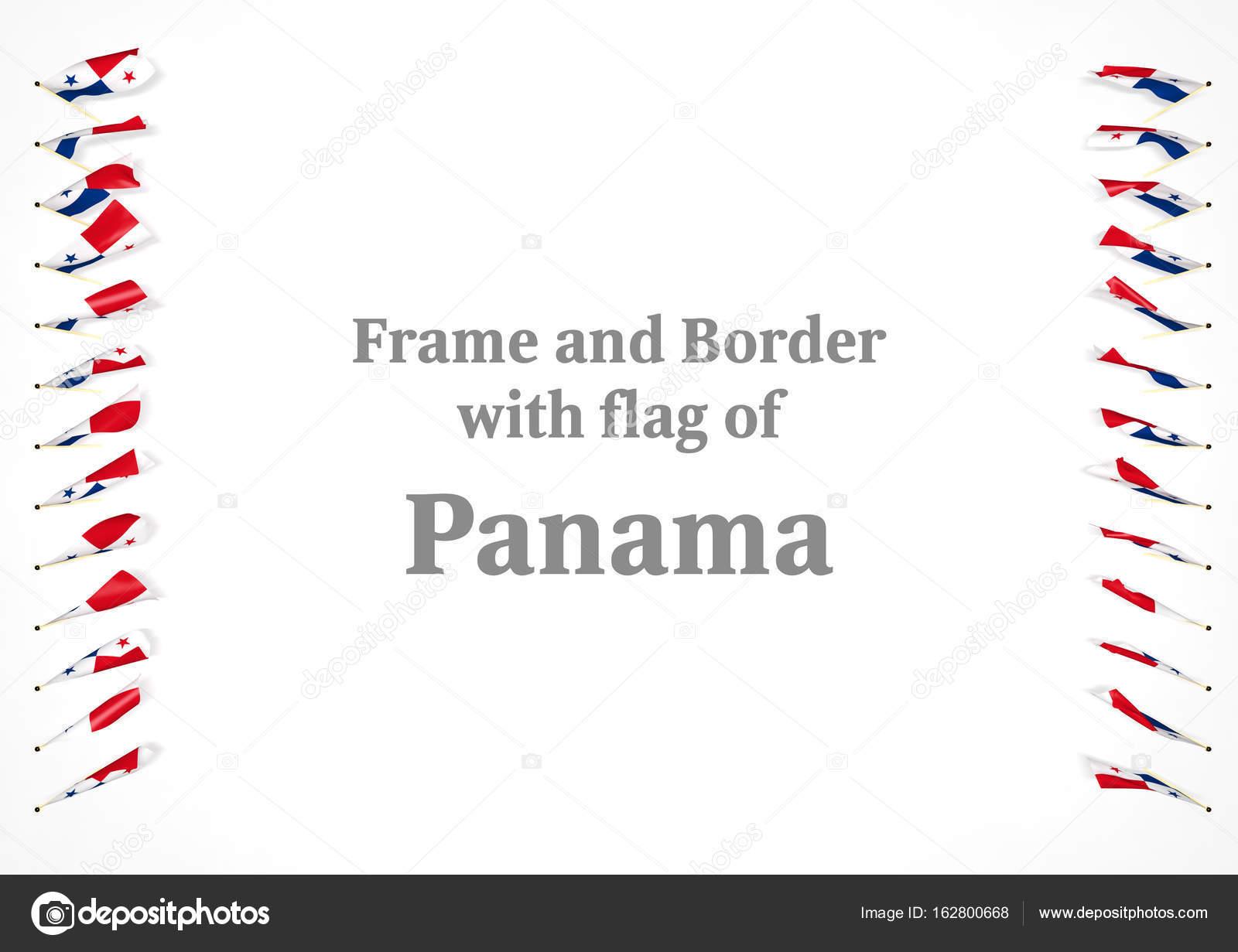 Marco y frontera con bandera de Panamá. Ilustración 3D — Fotos de ...
