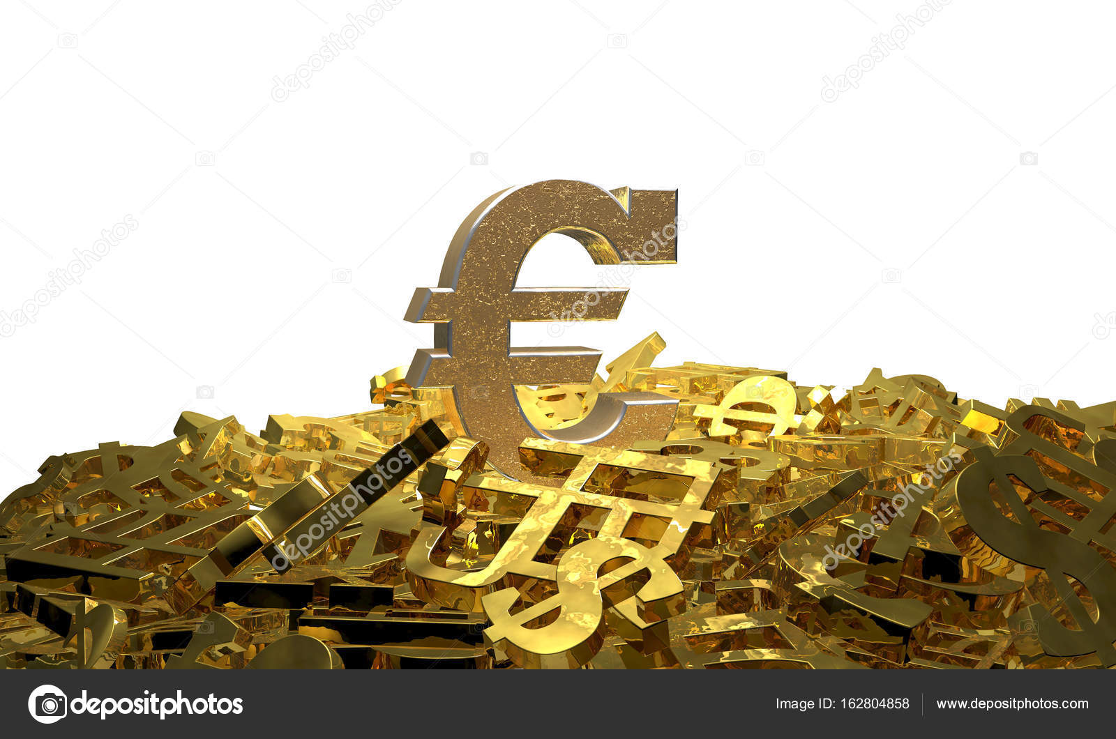 Euro Sign On A Pile Of Other Currency Symbols 3d Illustration