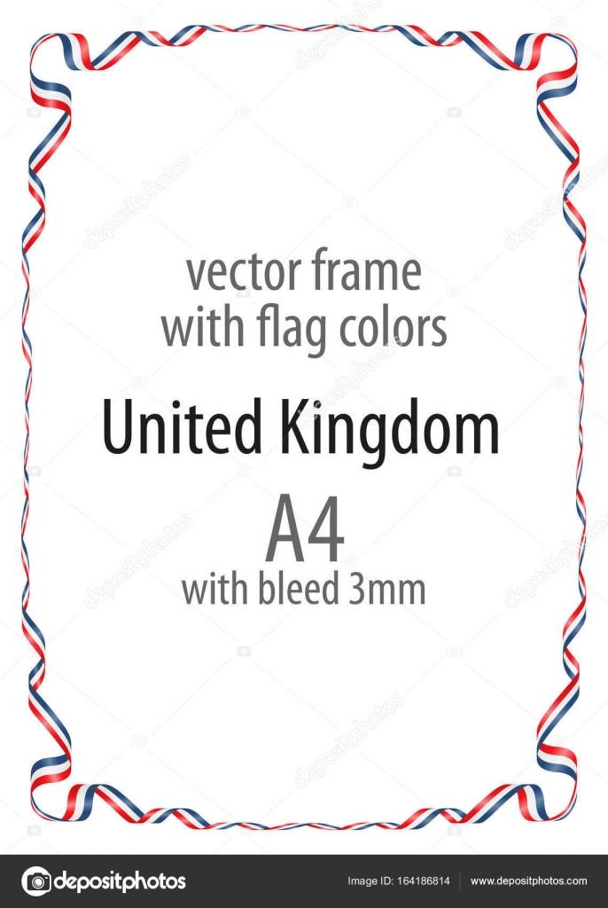 Marco y borde de cinta con los colores de la bandera de Reino Unido ...