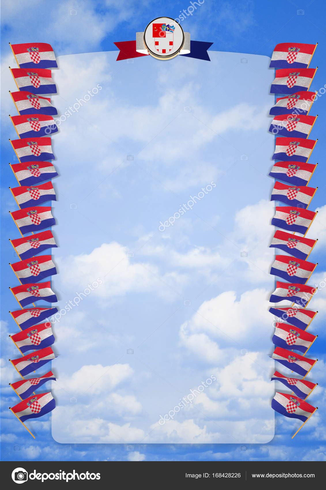 Rahmen und Rand mit Flagge und Wappen von Kroatien. 3D illustration ...