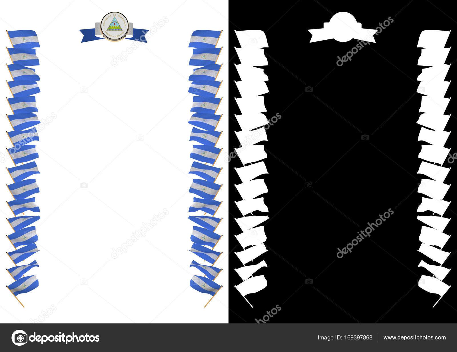 Marco y frontera con bandera y escudo de Nicaragua. Ilustración 3D ...