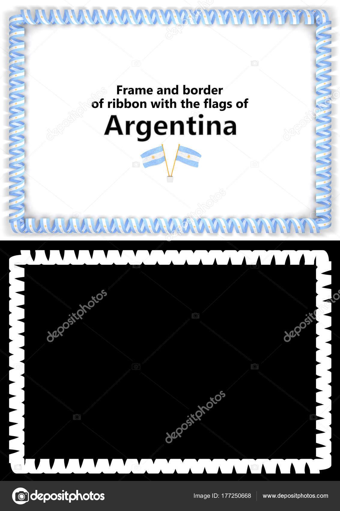 Marco y borde de la cinta con la bandera Argentina para ...