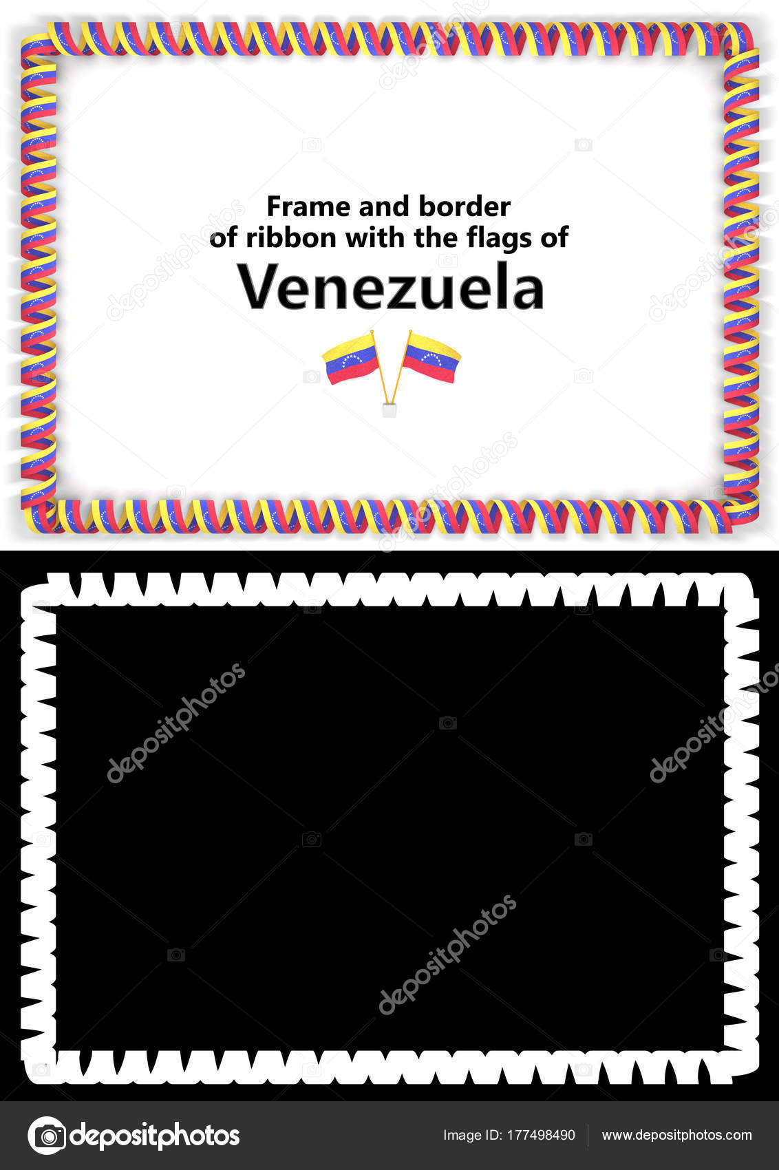 Marco y borde de la cinta con la bandera de Venezuela para ...
