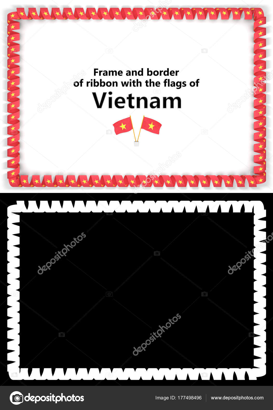 Frame And Border Of Ribbon With The Vietnam Flag For Diplomas,  Congratulations, Certificates.  Congratulations Certificates