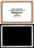 Telaio e bordo del nastro con la bandiera del Belgio per diplomi, complimenti, certificati. Canale alfa. illustrazione 3D