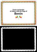 Telaio e bordo del nastro con la bandiera del Benin per diplomi, complimenti, certificati. Canale alfa. illustrazione 3D
