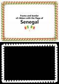 Telaio e bordo del nastro con la bandiera del Senegal per diplomi, complimenti, certificati. Canale alfa. illustrazione 3D