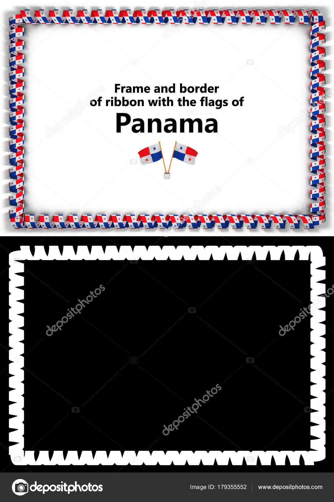 Marco y borde de la cinta con la bandera de Panamá para ...