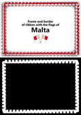 Telaio e bordo del nastro con la bandiera di Malta per diplomi, complimenti, certificati. Canale alfa. illustrazione 3D