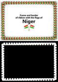 Telaio e bordo del nastro con la bandiera del Niger per diplomi, complimenti, certificati. Canale alfa. illustrazione 3D
