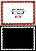 Telaio e bordo del nastro con la bandiera del Portogallo per diplomi, complimenti, certificati. Canale alfa. illustrazione 3D