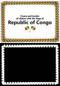 Telaio e bordo del nastro con la bandiera della Repubblica del Congo per diplomi, complimenti, certificati. Canale alfa. illustrazione 3D