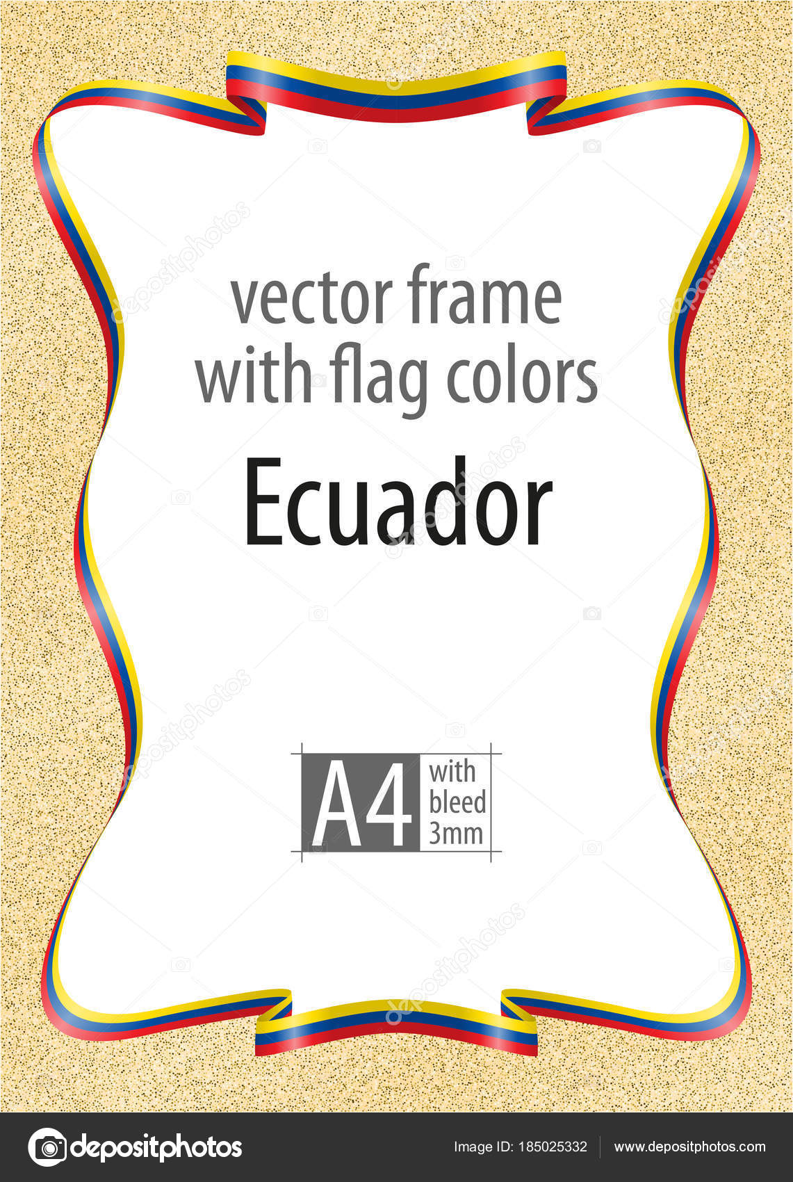 Frame and border of ribbon with the colors of the Ecuador flag ...
