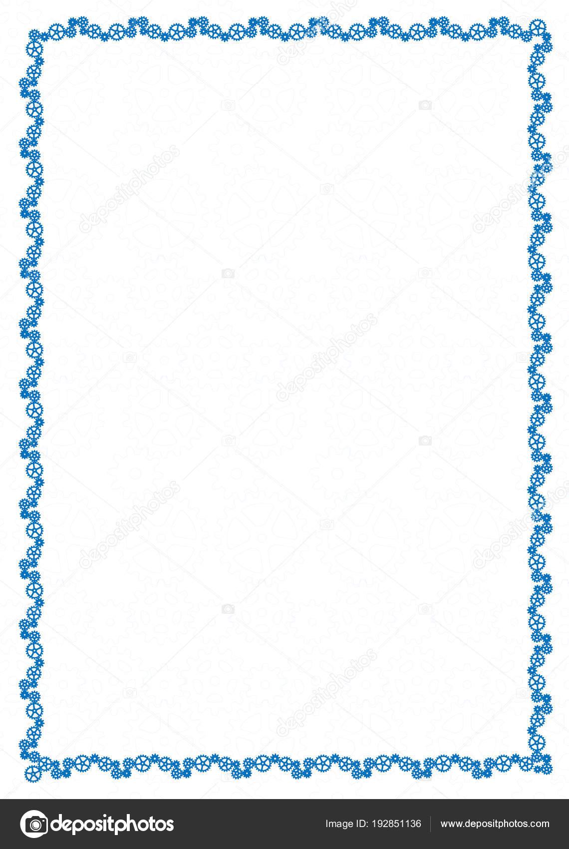 Vector marco azul simple frontera con ruedas dentadas para diploma ...