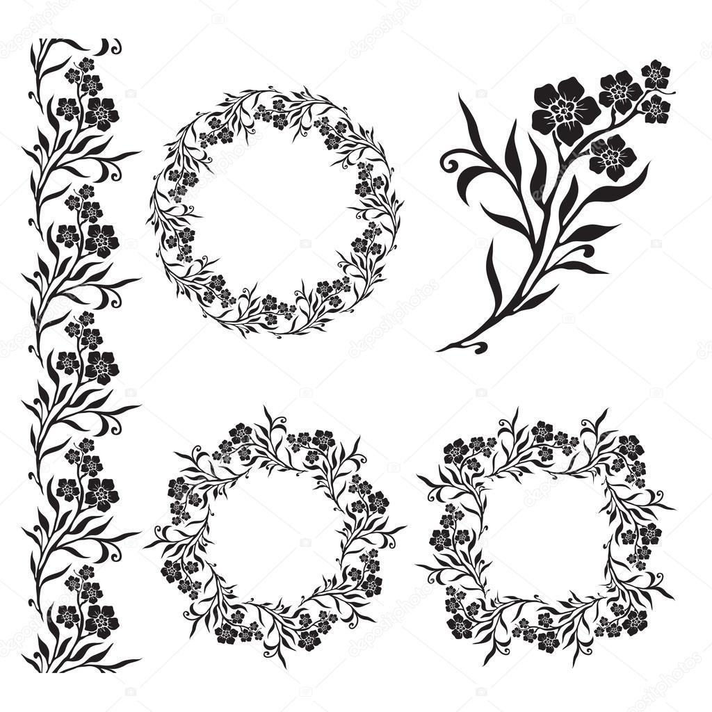 Nahtlose floral Fliesen Ränder und Rahmen — Stockvektor © werta.w ...