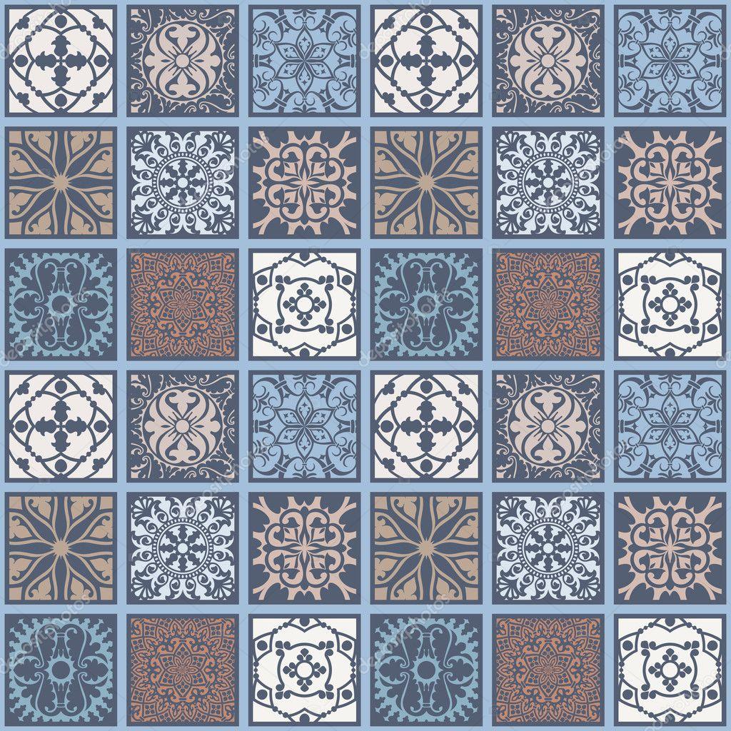 Seamless geometric tiling azulejo pattern — Stock Vector © werta.w ...